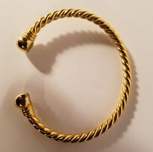 Vintage Twisted Rope Magnetic Goldtone Bracelet